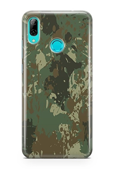 Lopard P Smart 2019 Kılıf Silikon Arka Kapak Koruyucu Yeşil Kamuflaj Desenli Full HD Baskılı Renkli